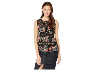 Miss Me Floral Burnout Sectioned Sleeveless Top