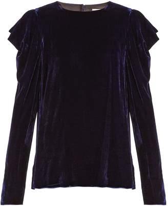 Tibi Draped-sleeved velvet top