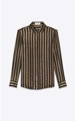Saint Laurent Silk Shirt With Lame Stripes