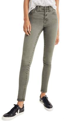 Madewell 9-Inch Garment Dyed Button Front Skinny Jeans