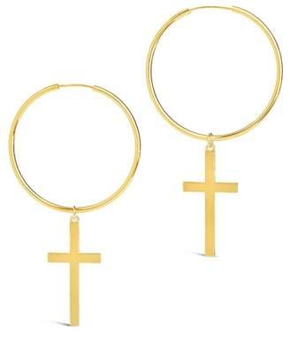 Sterling Forever Cross & Hoop Drop Earrings