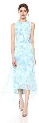 Calvin Klein Women's Chiffon Printed High Low Maxi Dress