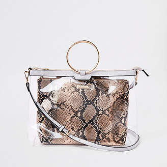 River Island Womens Gold tone ring handle perspex bag