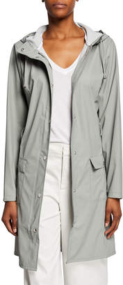 Rains Curve Water-Resistant Trench Coat w/ Hood