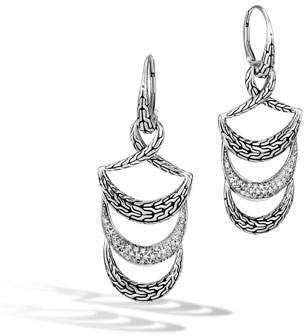 John Hardy Classic Chain Arch Diamond Dangle Earrings