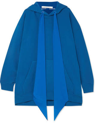 Givenchy Oversized Silk-trimmed Cotton-jersey Hooded Sweatshirt - Blue