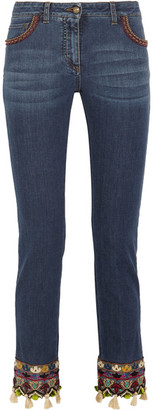 Etro - Embellished Embroidered Mid-rise Slim-leg Jeans - Blue $1,610 thestylecure.com