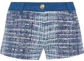 Pierre Balmain Denim-Paneled Cotton-Blend Bouclé-Tweed Shorts