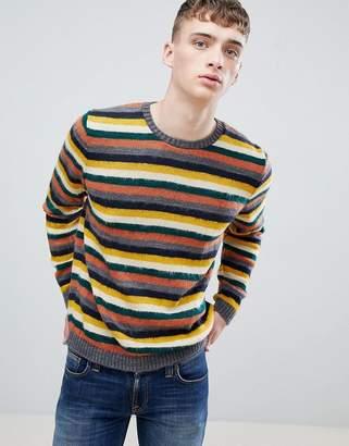 Asos Design Knitted Stripe Jumper In Brushed Yarn