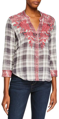 44b09fc5733 Johnny Was Josiane Embroidered Button-Front Plaid Blouse