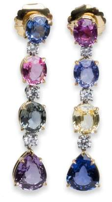 Bulgari Bvlgari Hanging Diamond Sapphire Earrings Yellow Gold Platinum