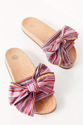 Urban Outfitters Striped Bow Pool Slide