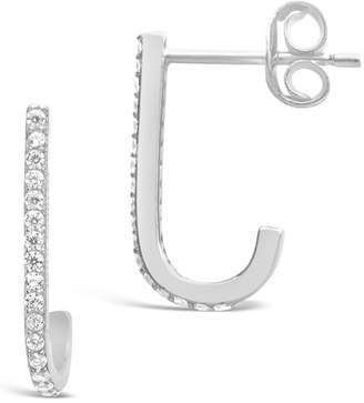 Sterling Forever Suspender Cubic Zirconia 15mm Hoop Earrings