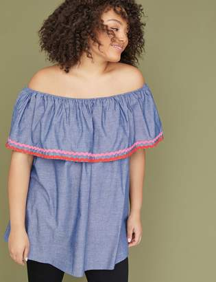 Lane Bryant Chambray Ruffle Off-the-Shoulder Top