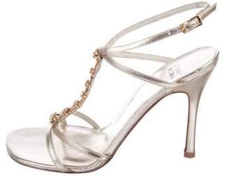 Stuart Weitzman Embellished Metallic Sandals