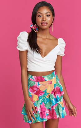 MUMU Todd Twist Skirt ~ Malibu Barbie Pebble