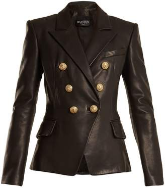 Balmain Double-breasted peak-lapel leather blazer