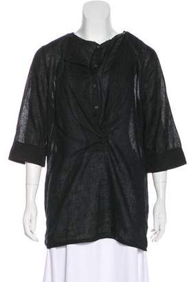 Closed Button-Up Short Sleeve Top