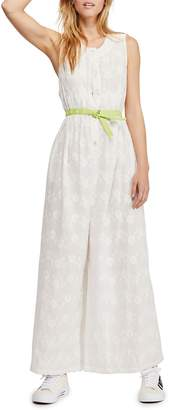Free People Flower Embroidered Wide Leg Jumpsuit