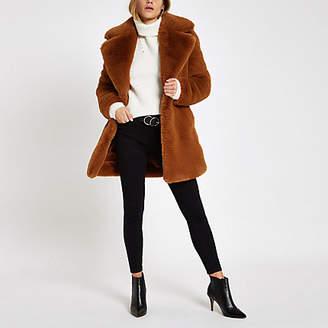 River Island Brown faux fur longline coat