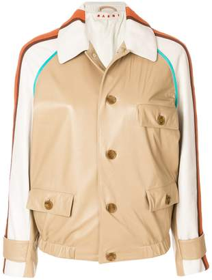 Marni striped shoulder leather jacket