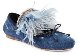 Miu Miu Feather-Trimmed Denim Ballet Flats