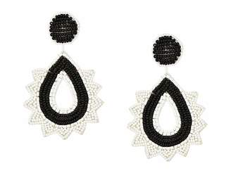 Kenneth Jay Lane Gold, Black and White Beaded Top and Drop Post Earrings
