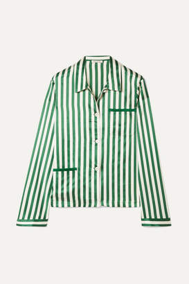Morgan Lane - Ruthie Striped Silk-charmeuse Pajama Top - Emerald