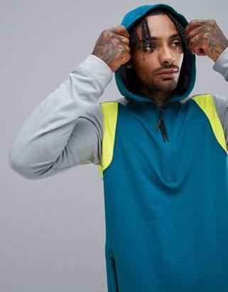 O'Neill Activewear Force Half Zip Hoodie Hyperdry in Blue/Gray