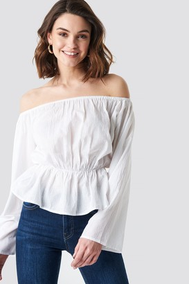 b2d63e62ab326 NA-KD Off Shoulder Flounce Blouse White