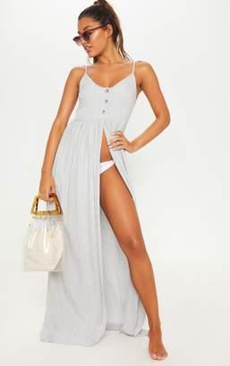 PrettyLittleThing Grey Split Leg Button Beach Dress