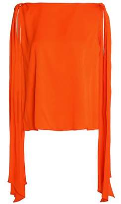 Milly Bow-Detailed Stretch-Silk Top