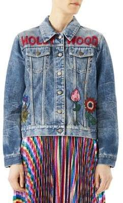 Gucci Embroidered Denim Cotton Jacket