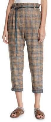 Brunello Cucinelli Plaid Linen Rope-Waist Crop Pants