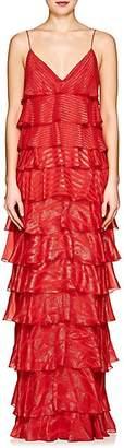 J. Mendel Women's Metallic Striped Silk-Blend Gown - Tangerine