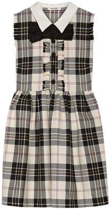 Miu Miu Bow-embellished Checked Wool Mini Dress