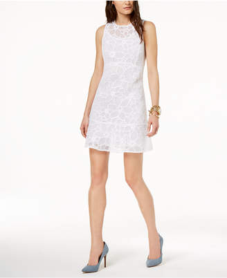 Michael Kors MICHAEL Embroidered Mesh Illusion Dress