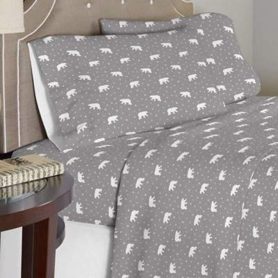 Bed Bath & Beyond Pointehaven 175 GSM Polar Bear Flannel Full Sheet Set in White/Grey