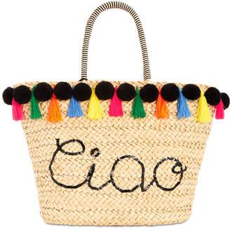 INC International Concepts I.n.c. Lunaa Ciao Pom Pom Straw Tote, Created for Macy's