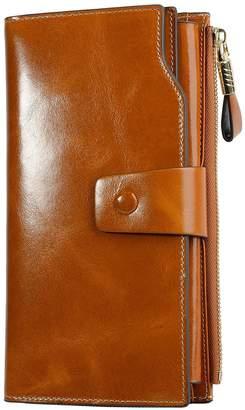PARVENZA Women's RFID Blocking Large Capacity Luxury Wax Genuine Leather Purse Wallet PVZ0702C