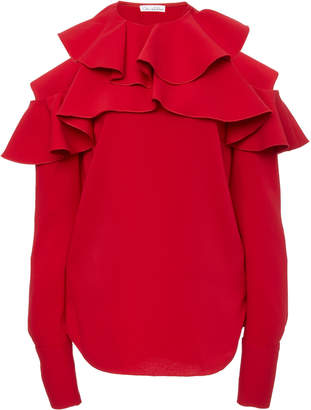 Oscar de la Renta Cold-Shoulder Ruffled Silk-Blend Blouse