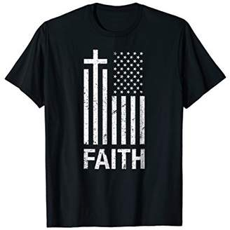 Christian Distressed Cross American Flag T Shirt