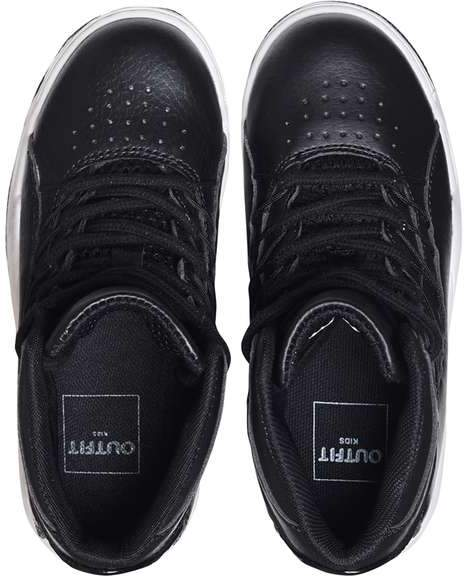 **Boys Black Sports High Top Trainers (5 - 12 years)