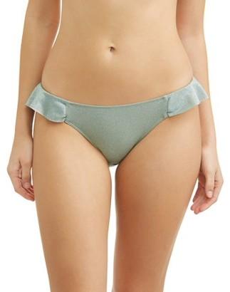 No Boundaries Juniors' Lurex Ruffle Scoop Swimsuit Bottoms
