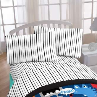 Disney Just For Kids Black Stripe 4 Piece Sheet Set