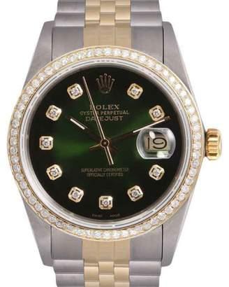 Rolex Datejust Stainless Steel & 18K Yellow Gold Green Vignette Diamond Dial & Bezel 36mm Mens Watch