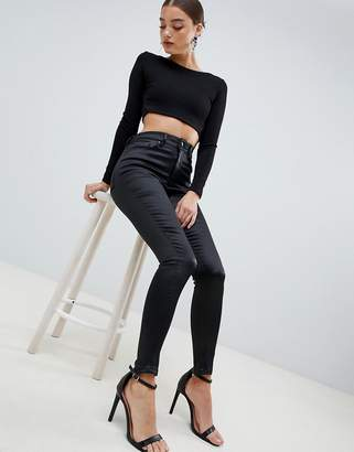 Asos DESIGN Ridley high waist skinny jeans in high shine stretch satine fabric