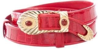 Judith Leiber Crocodile Adjustable Waist Belt
