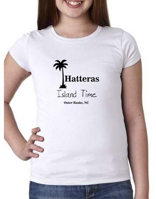 Hollywood Thread Outer Banks - Hatteras, NC - Island Time Palm Tree Girl's Cotton Youth T-Shirt