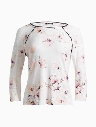 St. John Painted Pale Floral Print T-Shirt